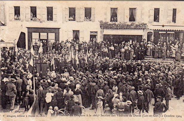 Remise du drapeau à la 1665 ème section des vétérans de Duras, 02:10:1904